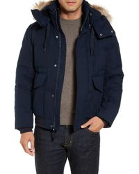 Marc New York - Bohlen Down & Feather Bomber Jacket With Removable Genuine Coyote Fur Trim Hood - Lyst