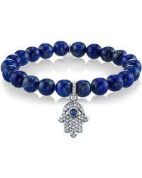 Sheryl Lowe - Hamsa Charm Lapis & Diamond Bracelet - Lyst
