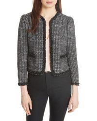 Rebecca Taylor - Ruffle Trim Tweed Jacket - Lyst