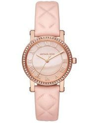 Michael Kors - Norie Crystal Accent Leather Strap Watch - Lyst