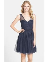 Monique Lhuillier Bridesmaids - Tulle Overlay Lace Fit & Flare Dress - Lyst