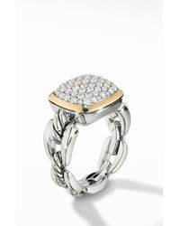 David Yurman - Wellesley Link Statement Ring With 18k Gold & Diamonds - Lyst