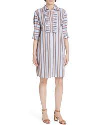 Tory Burch - Striped Ruffled Shirtdress - Lyst
