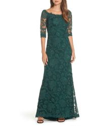 Tadashi Shoji - Embroidered Boat Neck Mermaid Gown - Lyst