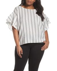 Vince Camuto - Tiered Ruffle Sleeve Stripe Blouse - Lyst