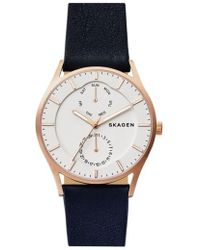 Skagen | 'holst' Multifunction Leather Strap Watch | Lyst