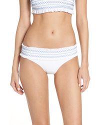 Tory Burch - Costa Smocked Hipster Bikini Bottoms - Lyst