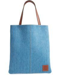 Loewe - Stripe Denim Tote Bag - - Lyst