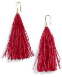 Serefina - Long Feather Drop Earrings - Lyst