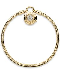 PANDORA - Shine Signature Padlock Bracelet - Lyst