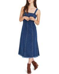 Madewell - Raw Hem Seamed Denim Dress - Lyst