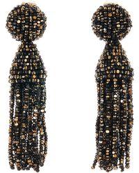 Oscar de la Renta - Short Beaded Tassel Clip Earrings - Lyst