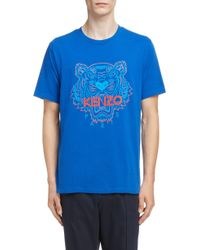 84dd5e82f KENZO Rainbow Tiger Print T-shirt in Blue for Men - Lyst