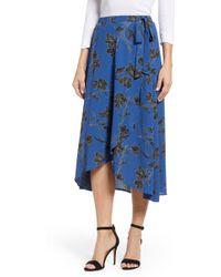Bobeau - Floral Dot Faux Wrap Skirt - Lyst