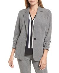 Vince Camuto - Ruched Sleeve Mini Houndstooth Jacket - Lyst