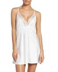 Flora Nikrooz - Lace & Charmeuse Chemise - Lyst