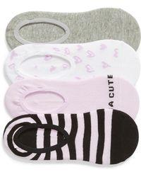 Sockart - Kinda Cute 4-pack No-show Socks, Purple - Lyst