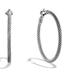 David Yurman - Sterling Silver Hoop Earrings - Lyst