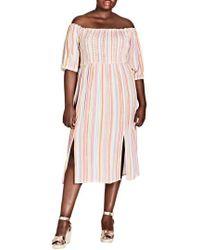 City Chic - Island Stripe Midi Dress - Lyst