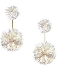 Tuleste - Double Lace Pom Pom Earrings - Lyst