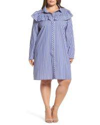 Glamorous - Ruffle Stripe Shirtdress - Lyst