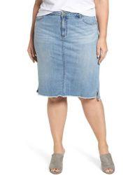 Caslon - Caslon Raw Edge Denim Skirt - Lyst