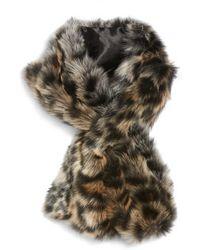 Sole Society - Leopard Faux Fur Stole - Lyst