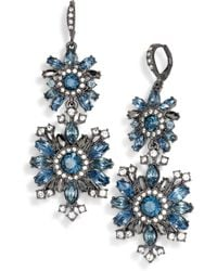 Givenchy - Hematite-tone Blue Crystal Double Drop Earrings - Lyst