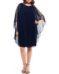 d6518936af8 Xscape - Chiffon Overlay Beaded Sleeve Cocktail Dress - Lyst