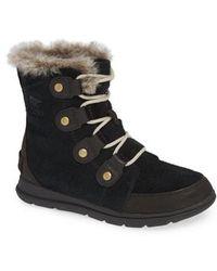 Sorel - Explorer Joan Waterproof Boot With Faux Fur Collar - Lyst