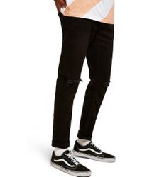 TOPMAN - Double Ripped Skinny Fit Jeans - Lyst
