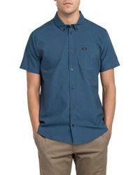 RVCA   'that'll Do' Slim Fit Short Sleeve Oxford Shirt   Lyst