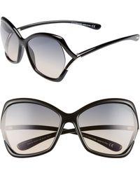 97b47ff7a294c Tom Ford - Astrid 61mm Geometric Sunglasses - Shiny Black  Gradient Smoke -  Lyst