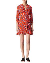 Whistles - Mimi Frill Silk Wrap Dress - Lyst