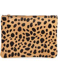 BP. - Leopard Print Genuine Calf Hair Pouch - - Lyst