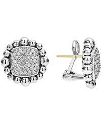 Lagos - Sterling Silver Caviar Spark Diamond Square Earrings - Lyst