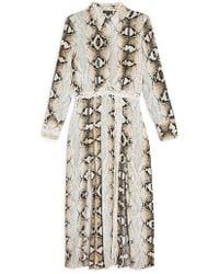 TOPSHOP - Snake Print Pleated Shirtdress - Lyst