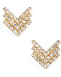 EF Collection - Shield Diamond Stud Earrings - Lyst