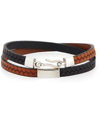 Caputo & Co. - Embossed Leather Wrap Bracelet - Lyst
