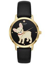 Kate Spade - Grand Metro Bulldog Leather Strap Watch - Lyst