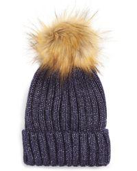 Sole Society - Faux Fur Pom Knit Beanie - - Lyst