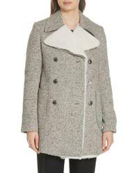 Tory Burch - Kinsley Faux Shearling Tweed Coat - Lyst