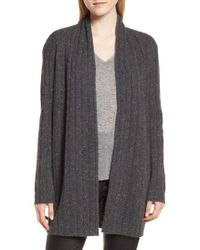 Nordstrom - Marl Cashmere Ribbed Open Cardigan - Lyst