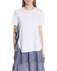 Opening Ceremony - Mixed Media Side Ruffle Tee - Lyst