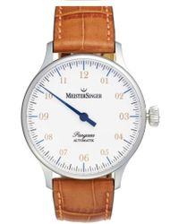 Meistersinger - 'pangaea - Pm901' Automatic Leather Strap Watch - Lyst