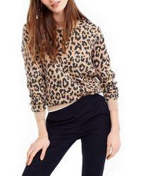 J.Crew | J.crew Cheetah Print Merino Wool Sweatshirt | Lyst
