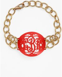 Moon & Lola - 'annabel' Medium Oval Personalized Monogram Bracelet (nordstrom Exclusive) - Lyst