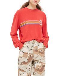 TOPSHOP - Southern State Slogan Rainbow Sweatshirt - Lyst