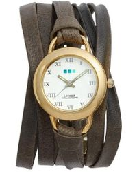 La Mer Collections - Slate Saturn Leather Strap Wrap Watch - Lyst