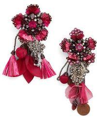 Ranjana Khan | Pink Flower Earrings With Tassels And Vintage Coins | Lyst